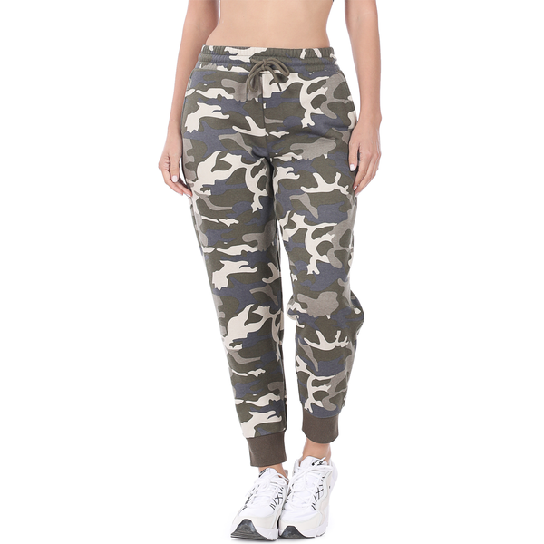 CAMOUFLAGE PRINTED JOGGER SWEATPANTS WITH POCKETS- DUSTY CAMO