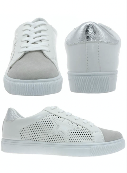 Star Faux Leather Suede Shoes- Silver