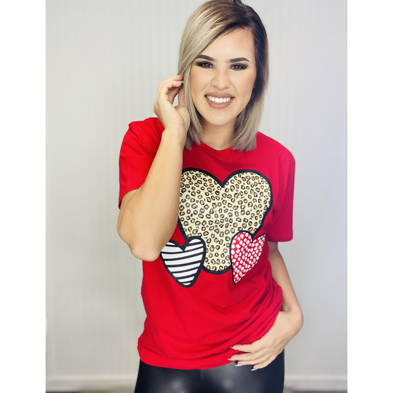 Graphic Three Hearts- Red