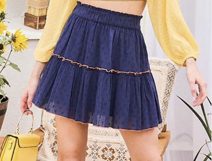 Merrow Accent Dot Print Skirt- NAVY