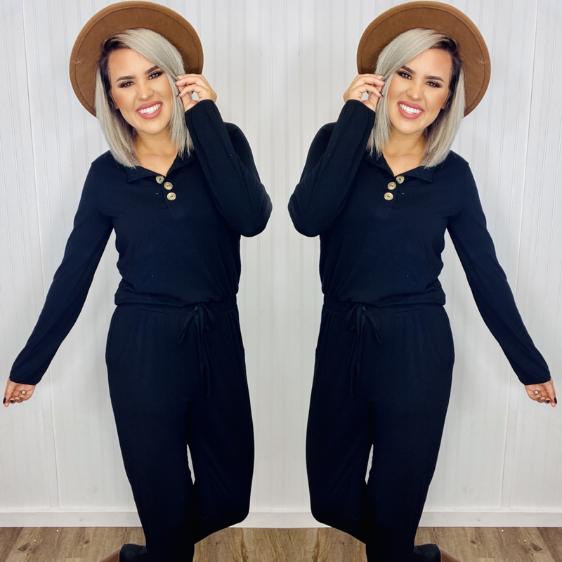 LONG SLEEVE JOGGER JUMPSUIT WITH POCKETS- Black