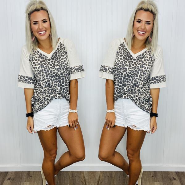 animal print sleeve top- Leopard