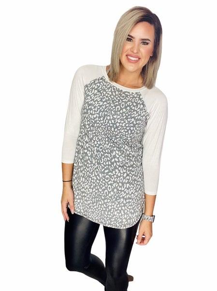 Raglan three quarter sleeve top-  Gray Leopard