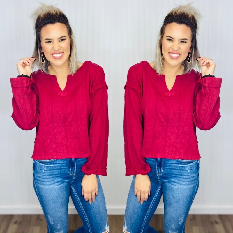 Knit High-Low Textured Top-Burgundy