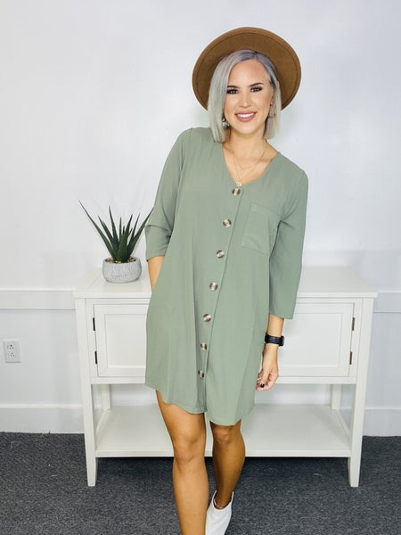 WOVEN HEAVY SPAN DOBBY CARDIGAN-BUTTON FRONT TUNIC DRESS