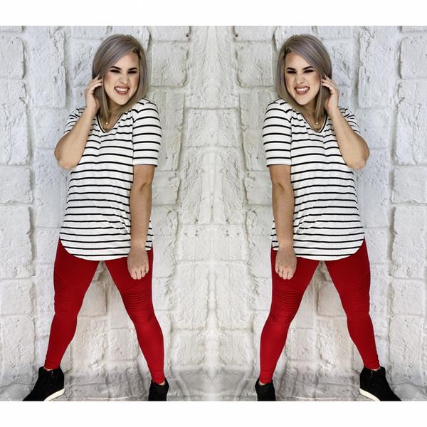 Stripe V-Neck Short Sleeve Top Ivory/Black