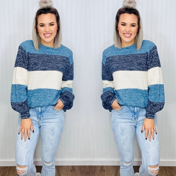 COLOR BLOCK BALLOON SLEEVE SWEATER- Blue Mix