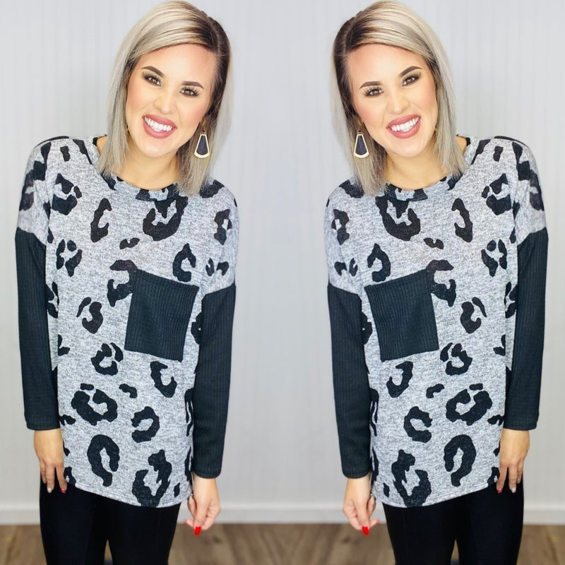 Leopard print top with solid waffle knit long sleeves & pocket- H.Grey/Black
