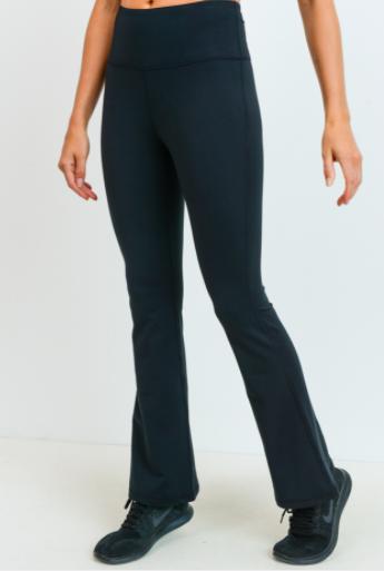 Essential Solid Flare Athletic Leggings- Black