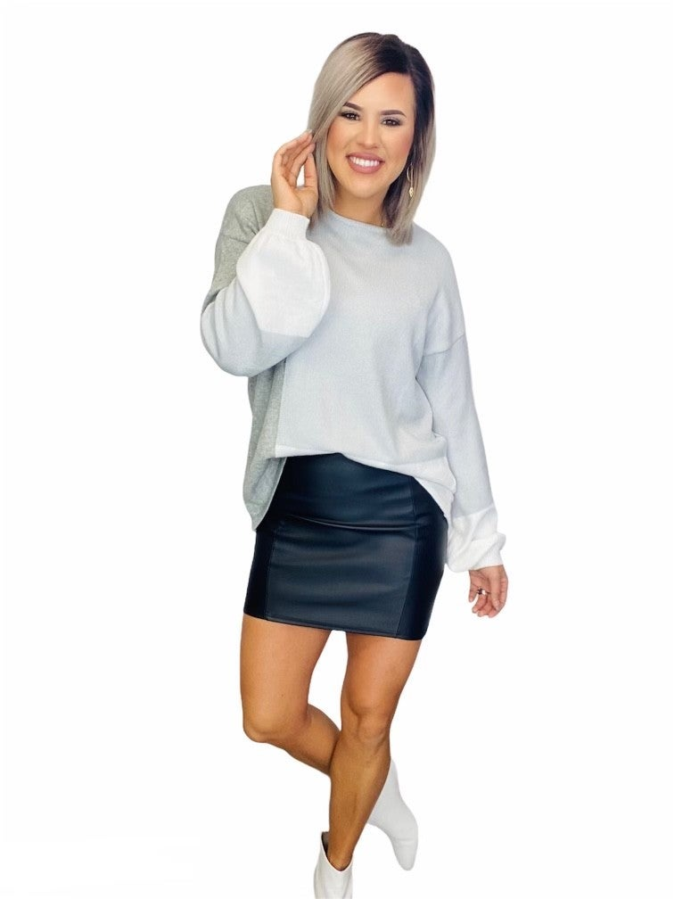Color Block Sweater Square -Combo/ Baby Blue