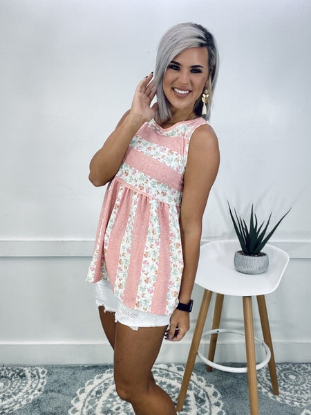 FLORAL AND STRIPE SLEEVELESS BABYDOLL TOP- Peach