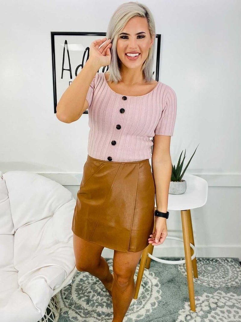 DOUBLE SCOOP NECK BUTTON SWEATER TOP- BLUSH