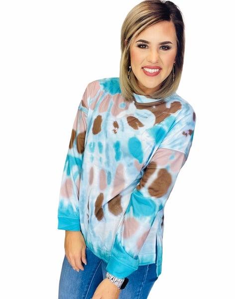 Tie-dye Side Slits Pullover- Aqua/Combo