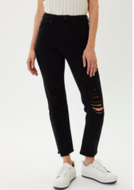 Kancan Distressed Mom Jeans- Black