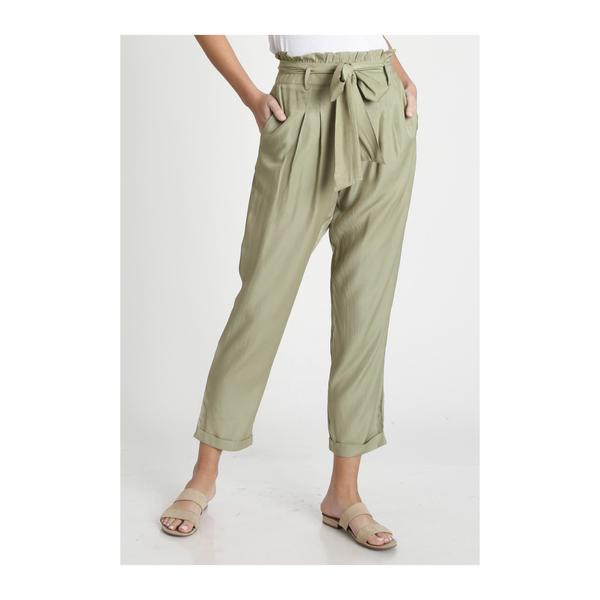 Paper bag linen pants- LT. OLIVE