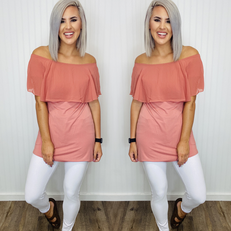 Solid Color Off Shoulder Ruffle Tunic Top