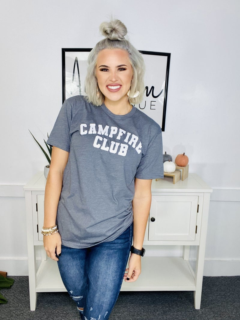 Graphic Tee- Campfire Club (h. charcoal)