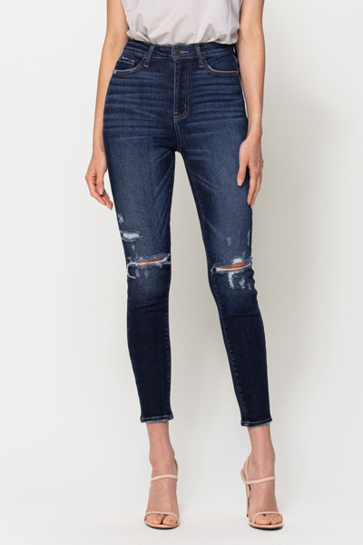 CELLO High Rise Ankle Skinny w/ Knee Distressing