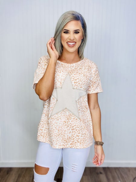 ANIMAL PRINT CONTRAST W/ SOLID STAR SHAPE DETAIL- CORAL