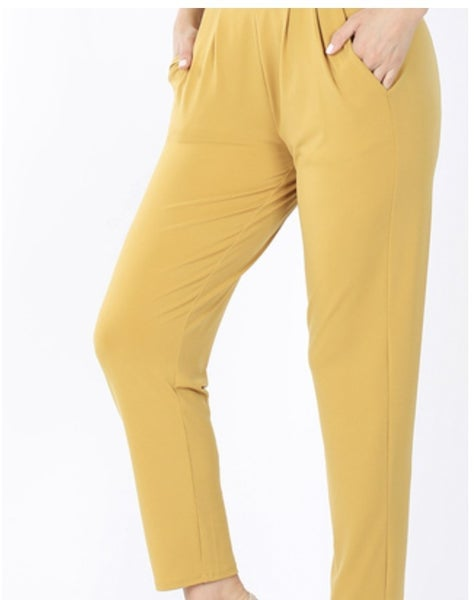 ITY PLEATED WAIST PANTS WITH SIDE POCKETS- Lt. Mustard