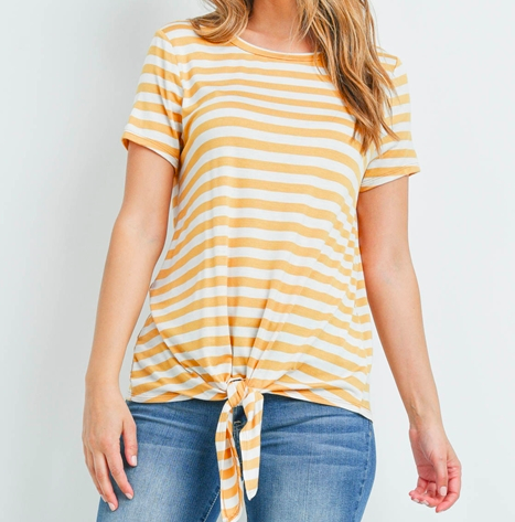 Ivory/ Mustard stripes front tie knot top