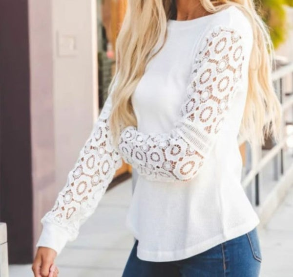 Pre-Order Gray Lace Long Sleeve Top