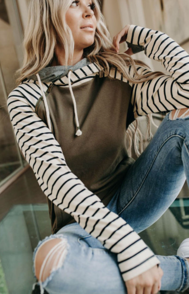 Pre-Order Brown Striped Inclined Zipper Drawstring hoodie