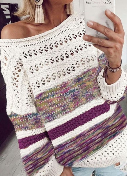 Pre-Order Purple Loose Open Knit Round Neck Sweater