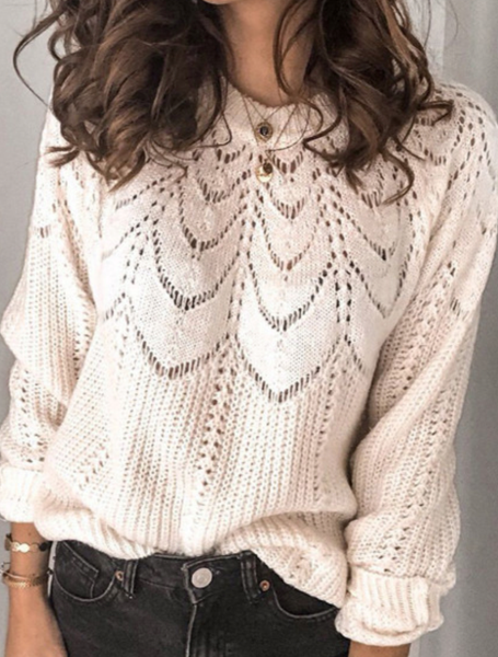 Pre- Order Beige Hollow Pullover Sweater