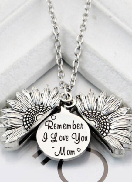 Pre-Order Silver Remember I Love You Mom Sunflower Pendant Necklace