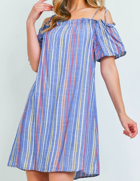 Blue multi stripes dress