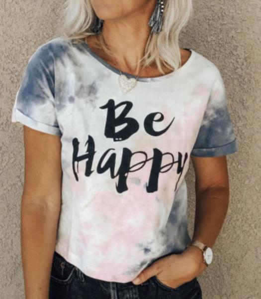 Pre-Order Be Happy Tie-dye Print T-shirt
