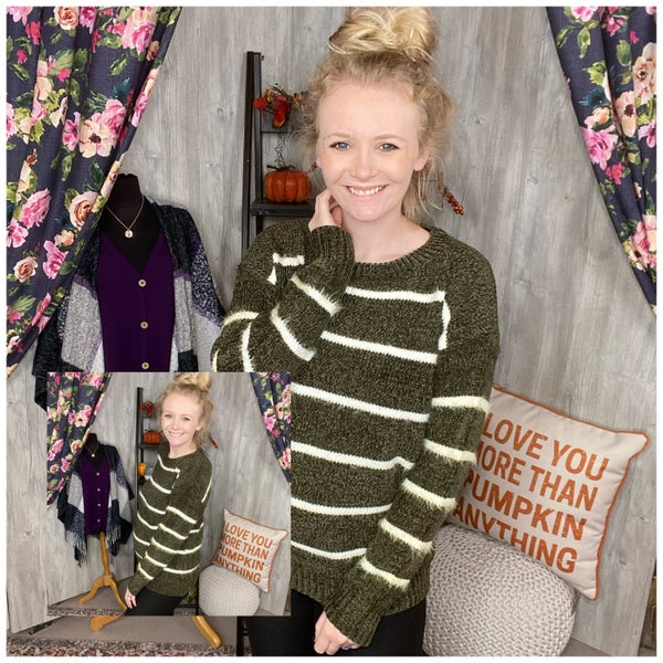 Olive Plus Size Sweater with White Stripes