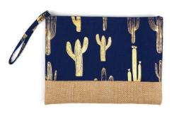 Gold foil cactus pouch- Navy