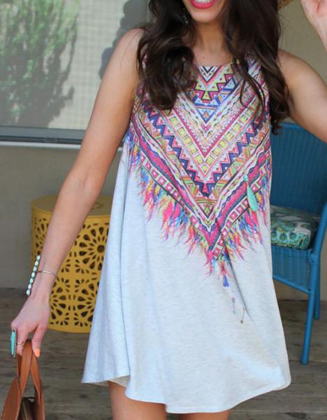 Pre-Order Aztec Print Boho Dress