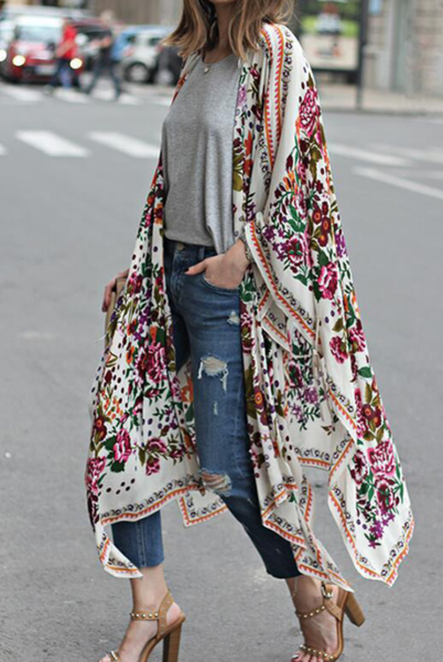 Pre_order Floral Print Kimono Beach Dress