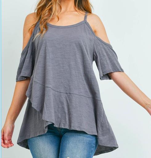 Charcoal off shoulder sleeves top