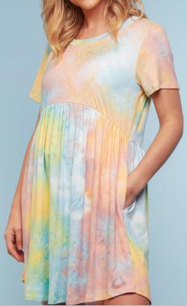 Tie Dye Baby Doll Dress w/Pockets