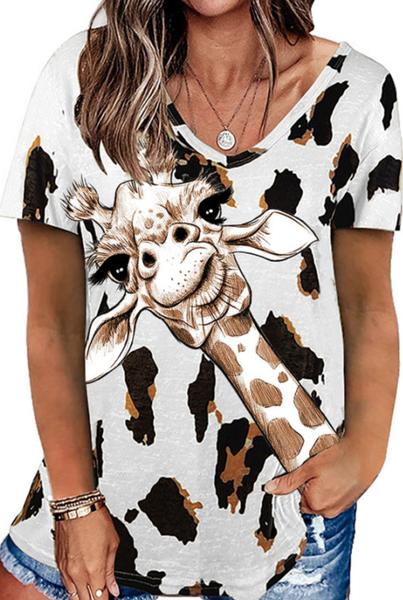 Pre-Order Giraffe Leopard Printed Casual Loose Short Sleeve T-shirt