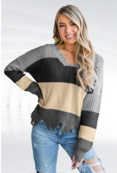 Gray Colorblock Distressed Sweater