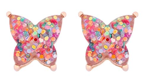 Glitter Butterfly earrings- light multi color