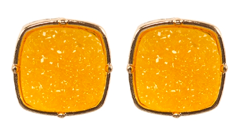 Yellow druzy post square earrings