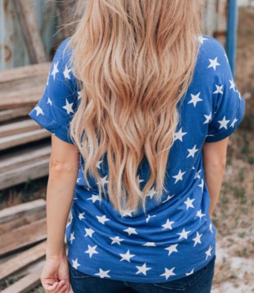 Pre-Order USA Star Print Patch Pocket Blue T-shirt