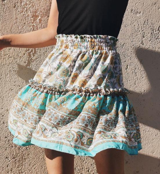 Pre-Order Printed Bohemian National Lotus Leaf Skirt