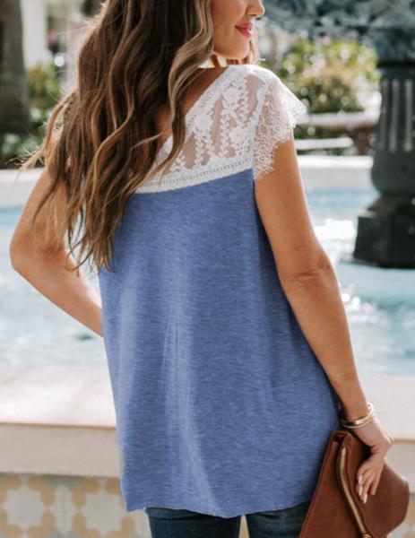 PRe-Order Blue Lace Knit Tank