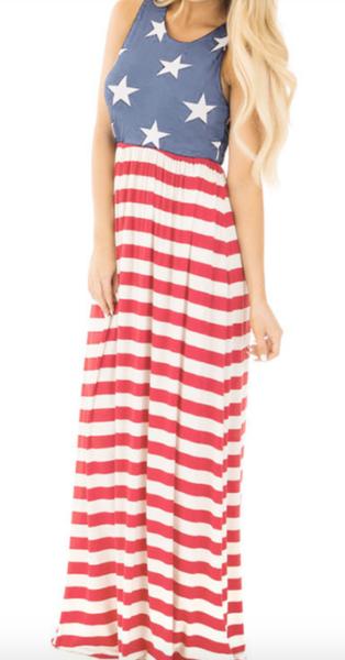 Pre-Order American Flag Print Elastic Waist Sleeveless Maxi Dress