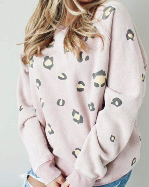 Pre-Order Pink Leopard Round Neck Pullover Sweatshirt