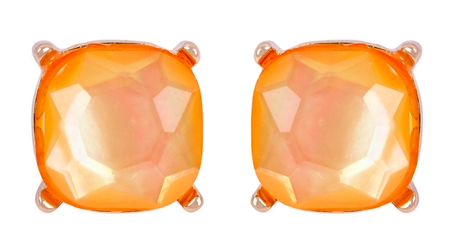 Camel glass cushion post earrings