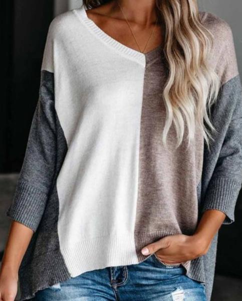 Pre-Order Khaki Colorblock Loose Fit Knit Sweater