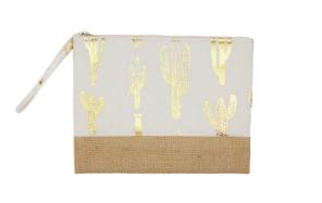 Gold foil cactus pouch- White